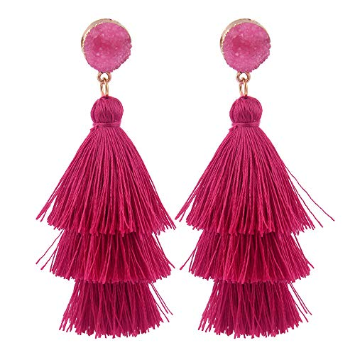 (Belmarti Colorful Christmas Tree-shaped Layered Tassel Dangle Drop Druzy Stud Earrings Holiday Party Christmas Costume Jewelry for Women Girls (Three-layered Sexy Pink))