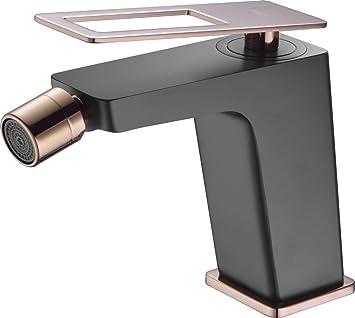 Grifo monomando bidet Imex Suecia Negro Oro Rosa BDC032-2NOR