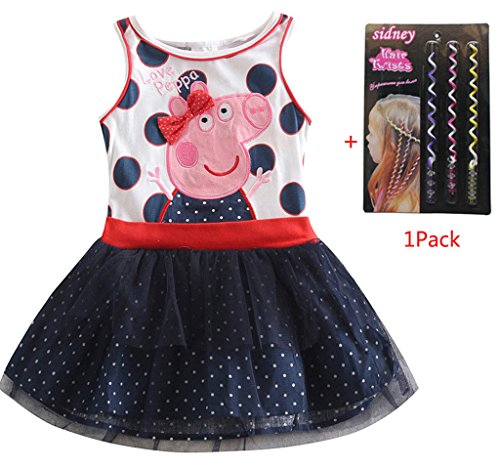 Sidney Little Girls Summer Peppa Pig Birthday Dress,sleeve-less ,1-6y (3t, Blue)