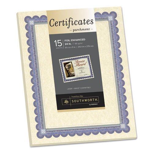 Foil-Enhanced Parchment Certificates, Ivory/Blue/Silver, 24 lb, 8.5 x 11, 15/Pk, Sold as 15 Each