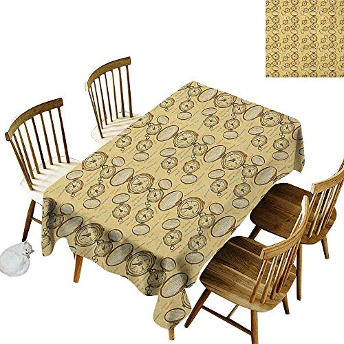 Rectangular Rectangular Round Tablecloth W54 x L72 Compass London Moscow Paris Sydney Traveling Around The World Theme Illustration Mustard Multicolor Great for Bar More