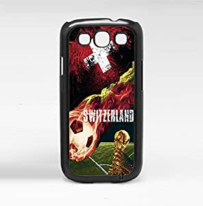 Red and White Switzerland Flag Fan Art with Colorful Fiery Soccer Ball Hard Snap on Phone Case (Galaxy s3 III)
