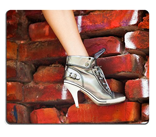 liili-mouse-pad-natural-rubber-mousepad-woman-leg-in-high-heel-sneakers-on-red-wall-image-id-2196614