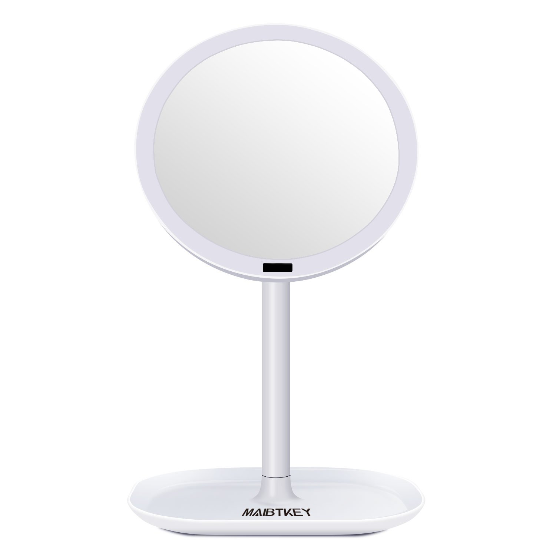 Maibtkey Lighted Makeup Mirror Motion Sensor Vanity Mirror 30 LED Lights 360 Degree Free Rotation Round Shape Table Countertop Cosmetic Bathroom Mirror