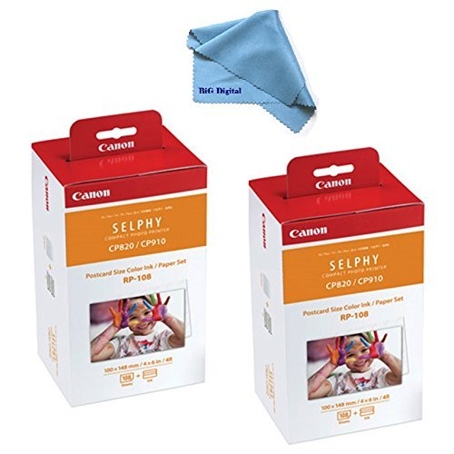 2 pack Canon RP-108 High-Capacity Color Ink/Paper Set for SELPHY CP910/CP820/CP1200 Printer