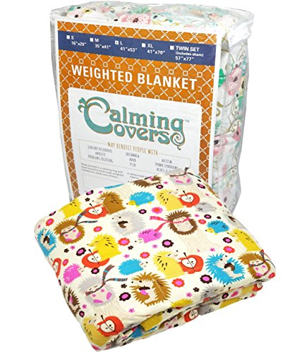 Designer Weighted Blanket for kids (or adult) | Dozens of cute styles in many sizes | Gravity blankets may help relieve anxiety, stress & insomnia | Style - Hedgehog | Cotton - 6 lbs by The Swanky Stitchery