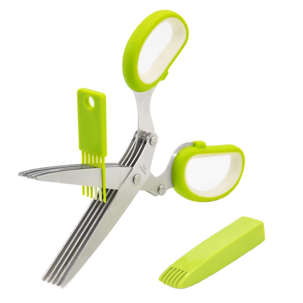 Herb Scissors Set with 5 Multi Stainless Steel Blades, Safe Cover and Cleaning Comb, Multipurpose Kitchen Chopping Shear, Mincer, Sharp Dishwasher Safe Kitchen Gadget, Culinary Cutter Chopper Jufoyo