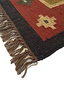 Inverted Square-pattern Jute Wool Rug, 5ft X 3ft, Handwoven, Reversible