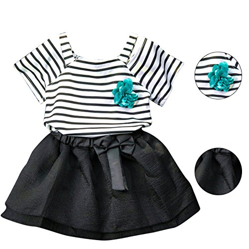 Luxsea girls green corsage strap off-shoulder striped short-sleeved t-shirt + skirt skirt two-piece suit (Shoulder Corsage)