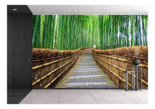 Wood Kyoto Natural (wall26 - Path to Bamboo Forest Arashiyama Kyoto Japan - Removable Wall Mural | Self-Adhesive Large Wallpaper - 100x144 inches)