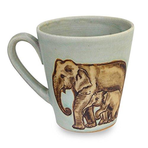 Siamese Elephant - NOVICA Celadon Ceramic Mug, Siamese Elephants