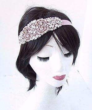 Rose Gold Light Pink Headband Headpiece Fascinator Dress 1920s Flapper Vtg  4718  Amazon.co.uk  Beauty 3f09990c6fd
