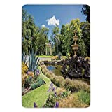 Bathroom Bath Rug Kitchen Floor Mat Carpet,Country Decor,Fitzroy Gardens Summer Day View Fountain Historical Iconic Tourist Attraction,Flannel Microfiber Non-slip Soft Absorbent