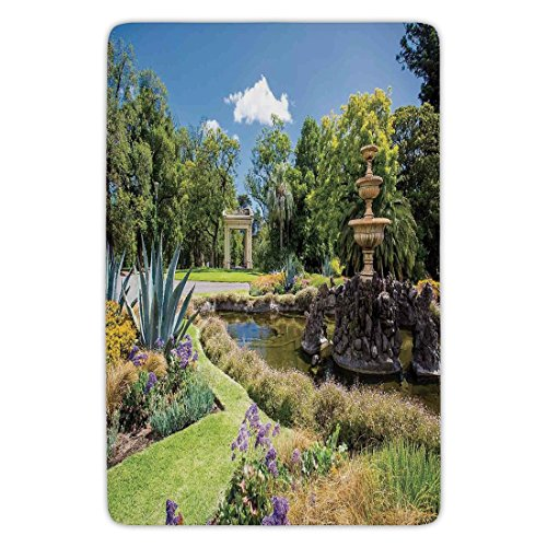 Bathroom Bath Rug Kitchen Floor Mat Carpet,Country Decor,Fitzroy Gardens Summer Day View Fountain Historical Iconic Tourist Attraction,Flannel Microfiber Non-slip Soft Absorbent by iPrint