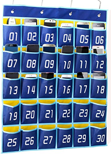 Kimbora Numbered Pocket Chart Classroom Organizer for Cell Phones Calculator Holders (30 Pockets, Blue Pockets) ()