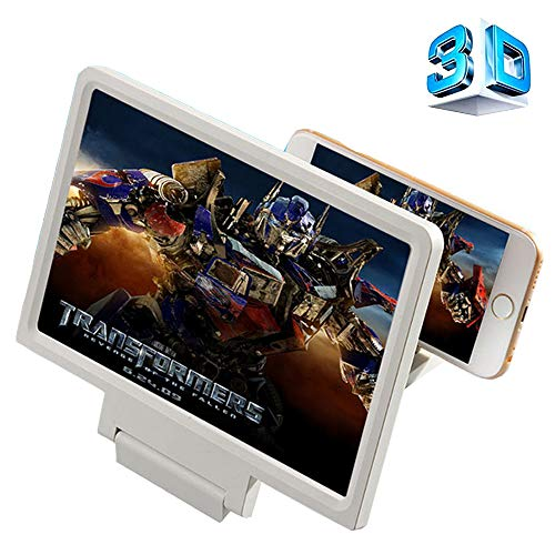 3D Mobile Phone Screen Magnifier, Cell Phone HD Magnifying Glass Mount Movies Video Amplifier with Foldable Holder Stand for for iPhone Samsung and All Other Smart Phones (8inchWhite) ()