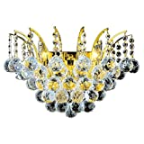 Worldwide Lighting Empire Collection 3 Light Gold Finish and Clear Crystal Wall Sconce 16'' W X 13'' H Large
