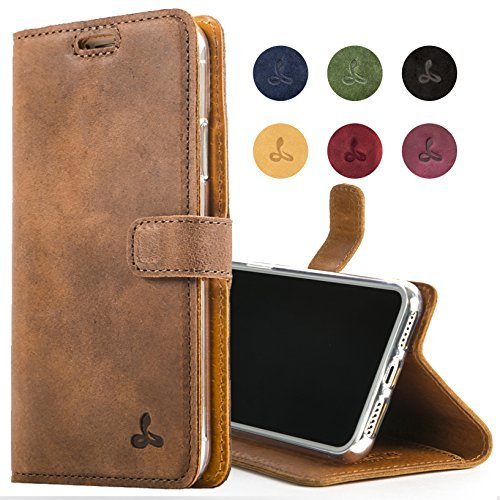 iPhone XR Case, Luxury Genuine Leather Wallet with Viewing Stand and Card Slots, Flip Cover Gift Boxed and Handmade in Europe for Apple iPhone XR (Brown)