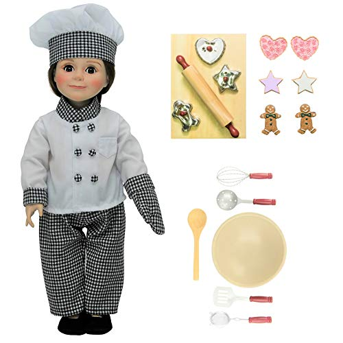Doll Clothes Outfit and 17 Pc Kitchen Tool and Baking Set Accessories Fits 18 in American Girl! Complete Clothing Set, Shoes, Bowl, 5 pc Utensil Set,3 Cookies Cutters,6pc Cookies, Board,Rolling Pi