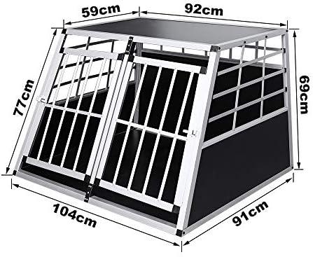 WIS Hengda Aluminio Perros Caja de Transporte Doble Puertas Perros Caja Auto Caja de Transporte Perros Jaula para el Transporte Extra Perros Grandes: Amazon.es: Productos para mascotas