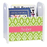 Personalized Damask Green with Salmon White Book Caddy and Rack
