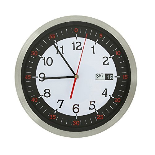 Adeco Stainless Steel Round Wall Hanging Clock With Date And Second Hand Home Decor