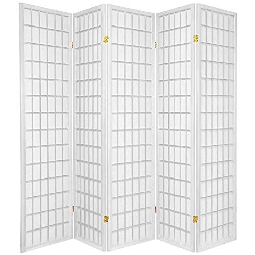 3 - 10 Panel Room Divider Square Design White (5 Panel) (Wood Divider Room Square)