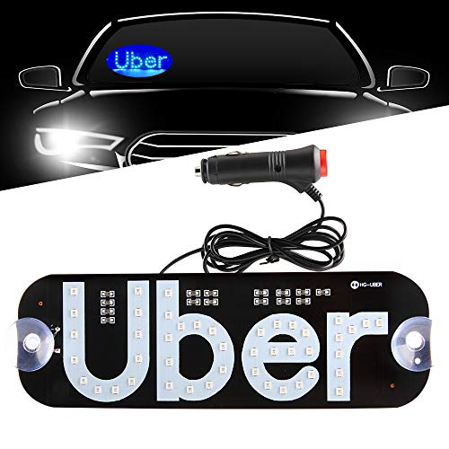 Led U Ber Sign Light Blue Glowing Decal with DC12V Cigarette Charger on Car Window Windshield Cab Interior Indicator Lamp for Driver