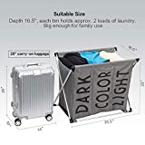 HOMEST 3 Sections Laundry Hamper Sorter Basket with X-Frame 25.5''×23''H Washing Storage Dirty Clothes Bag for Bathroom Bedroom Home College Use, Dark Grey