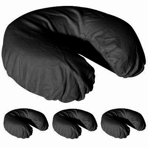 Royal Massage Set of 4 Brushed Flannel Fitted Face Cradle Covers, Black, NULL