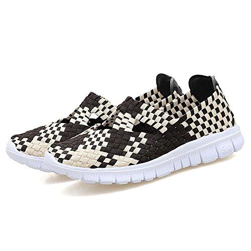 Sneakers Lightweight Walking L Handmade Slip Comfort Woven Shoes On Shoes Women Brown LOUBIT Oqw0z
