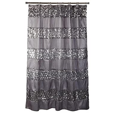 Popular Bath Shower Curtain, Sinatra Collection, 70  x 72 , Silver