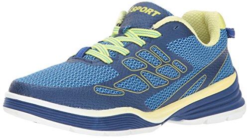 JSport by Jambu Women's Sport Walker Fashion Sneaker, Deep Blue/Neon Yellow, 8 M US