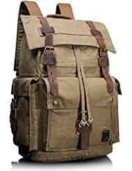 Leaper Vintage Canvas Leather Travel Rucksack Military Backpack Hiking Daypack