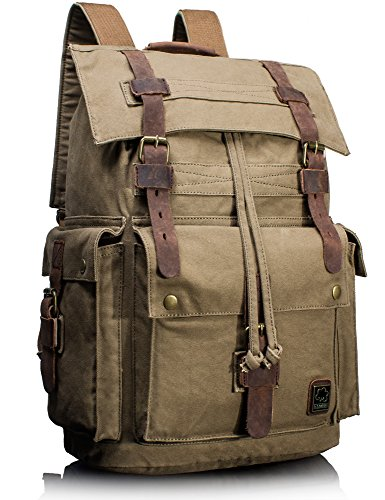 Leaper Vintage Canvas Travel Bag Military Backpack Hiking Daypack Army Green