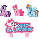 """Party Time My Little Pony Friendship Molded Mini Character Birthday Candle Set, Pack of 4, Pink , 1.25"""" Wax"""