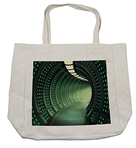 Lunarable Outer Space Shopping Bag, Hallway of the Spaceship with Futuristic Elements and Round Ceiling Design, Eco-Friendly Reusable Bag for Groceries Beach Travel School & More, (Futuristic Element Costumes)