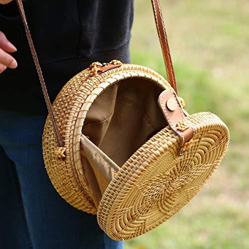 vacances plage main tissées femmes avec main bouton paille tout sac à à Rond Mollies étoile modèle fourre la bandoulière femelle rotin sac qZRawInx4F