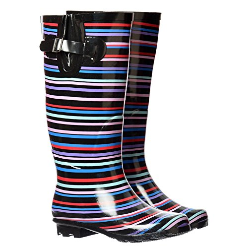 Onlineshoe Women's Flat Wide Calf Wellie Wellington Festival Rain Boots Multi Striped / Black Patent Uk6 - Eu39 - Us8 - Au7