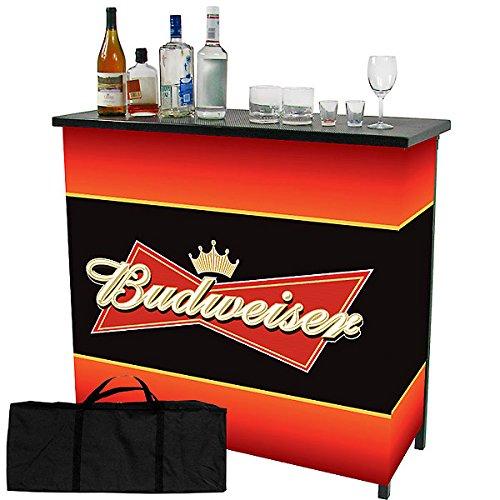 Budweiser Two Shelf Portable Bar with Case (Portable Mini Bar)