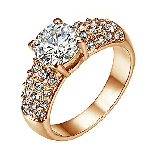 Classic 18k Rose Gold Plated 4 Prong 1.5ct Cubic Zirconia with Rhinestones Studded Wedding Ring (7)