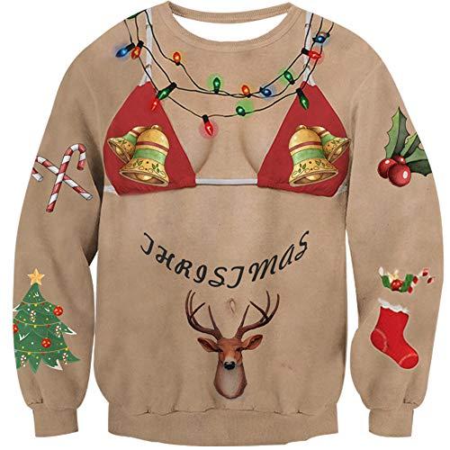 Idgreatim Unisex Funny Bikini Printed Long Sleeve Ugly Christmas Sweatshirt Pullover Shirt Sweater Tops - Funny Bikini Shirt