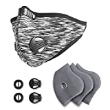 Activated Carbon Dustproof Dust Mask - with Extra 3 Filter Cotton Sheet and 2 Valves for Exhaust Gas, Pollen Allergy, PM2.5, Running, Cycling, Outdoor Activities