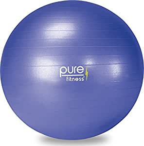 Pure Fitness Anti-Burst Core Exercise Stability Ball with Hand Pump, 65 cm, Blue