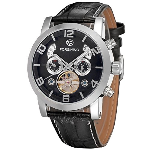 Forsining Men's FSG165M3S4 Analog Automatic Tourbillon Black Watch
