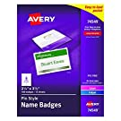 Avery Pin Style Top-Loading Name Badges, 2.25 x 3.5 Inches, White, Box of 100 (74549)