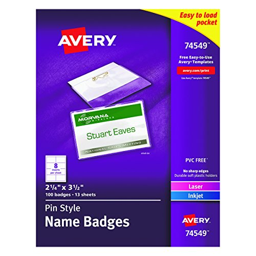 Name Holder Tag Inserts Badge (Avery Pin Style Name Badges, Print or Write, 2-1/4
