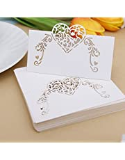 NUOMI 50 Pieces Wedding Table Place Cards White Table Numbers Cards, Small Tent Cards, Name Cards for Table Setting, Reception Banquets Dinner Party Supplies