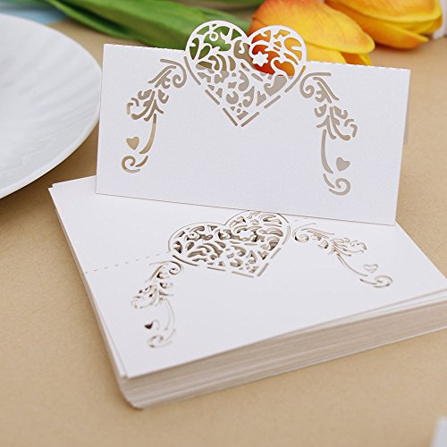 (NUOMI 50 Pieces Wedding Table Place Cards White Table Numbers Cards, Tent Cards, Name Cards for Table Setting, Reception Banquets Dinner Party Supplies)