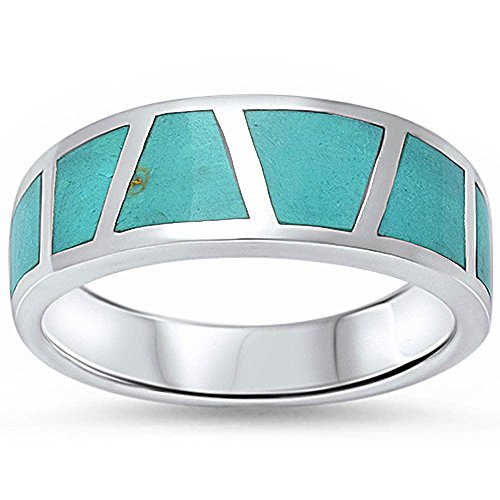 - Half Eternity Green Simulated Turquoise Inlay Wedding Band Ring 925 Sterling Silver, Size-7